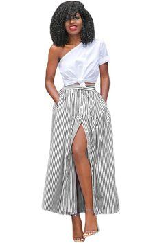 Faldas Saias Summer Women Blue White Striped Print Button Front Maxi Skirt Vintage A Line High Waist Ankle Length Skirts Cheap Maxi Dresses, Striped Maxi Skirts, Maxi Skirt Black, Striped Dress, Pleated Skirt, Long African Skirt, Ankle Length Skirt, Moda Chic, Vintage Skirt