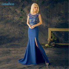 Find More Prom Dresses Information about 2017 Stunning Evening Dresses Blue Prom Jewel Neck Cap Sleeve Sexy Split Crystal Beads Mermaid Cheap Formal Prom Guest Dress ,High Quality beading designs for dresses,China dresses for plus size woman Suppliers, Cheap bead from only true love topseller Store on Aliexpress.com