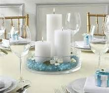 DIY Wedding Candle Centerpieces, DIY Wedding Centerpieces, DIY Wedding I think if the candles were changed to green and the stones to red and some Pointsettas were added it would make a great Xmas Centerpiece as well! Communion Centerpieces, Wedding Reception Centerpieces, Candle Centerpieces, Pillar Candles, Wedding Table, Diy Wedding, Wedding Decorations, Centerpiece Ideas, Trendy Wedding