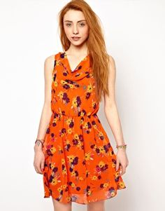 The Style Floral Dress With Drape Neck