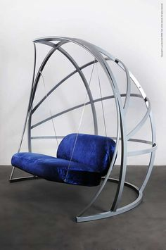 La Culla is a rocking sofa whose structure is made by a welded tubular steel frame. The structure is divided into three parts, joined together by steel bayonets. Elastic belts have been applied to the seat and back, made by bent steel tubing. Welded Furniture, Iron Furniture, Steel Furniture, Home Decor Furniture, Sofa Furniture, Industrial Furniture, Furniture Design, Hanging Swing Chair, Swinging Chair