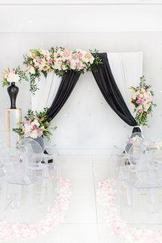 black white and pink modern wedding decor- PHOTOGRAPHERSAMY & JORDANFLOWERSLUX WEDDING FLORISTCOORDINATORS & STYLISTSSOME LIKE IT CLASSIC