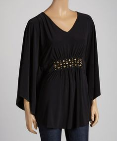Look what I found on #zulily! Black Embellished Cape Sleeve Tunic - Women & Plus #zulilyfinds