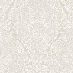 Graham & Brown Fibrous Windsor Pale Gold & White Damask Metallic Wallpaper | Departments | DIY at B&Q