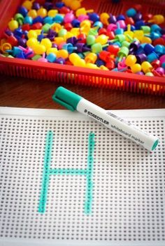 Draw a letter on a pin board and have children push the pins in correct order to form the letters. (Could write numbers and even draw arrows to show letter formation sequence.) Great for fine motor skill development and letter formation and recognition Preschool Literacy, Preschool Letters, Learning Letters, Alphabet Activities, Early Literacy, Literacy Activities, Preschool Activities, Kids Learning, Alphabet Crafts