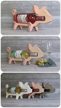 Wood Wine Holder, Wine Bottle Holders, Wine Rack, Wooden Decor, Wooden Diy, Handmade Wooden, Cnc Wood Router, Simple Wood Carving, Pig Crafts