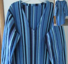 Blue Striped Handmade Fleece Pullover Robe by PizzelwaddelsApparel