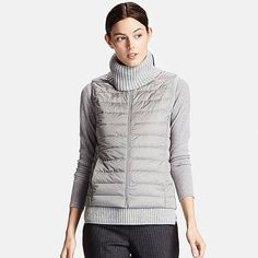 Discover the new selection of Ultra Light Down Vests at UNIQLO online. Select from a variety of styles and colours to suit your style. Puffer Vest, Padded Jacket, Downlights, Uniqlo, What To Wear, Turtle Neck, Sweaters, Jackets, Outfits