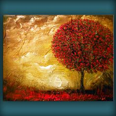 art original painting abstract heavy texture thick paint tree painting minimalist impressionist gold Original Painting landscape 16 x 20. $169.00, via Etsy.