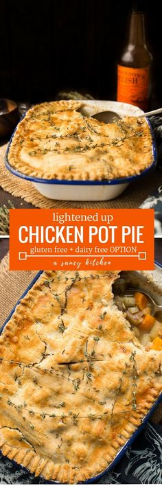 Lightened up Gluten Free Chicken Pot Pie loaded with veggies and topped with an herby crust | Dairy Free Option Available