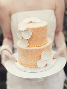 country chick modern peach cake / Cake: One Girl Cakes by Fransina / Photo: Maggie Harkov Beautiful Wedding Cakes, Gorgeous Cakes, Pretty Cakes, Cute Cakes, Amazing Cakes, Wedding Cake Two Tier, Chocolates, Nutella, Waffles