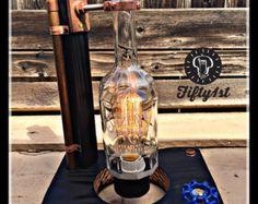 """Industrielle Tischlampe """"Sazerac"""", Steckdose Lampe, Steampunk-Lampe, zurückgefordert Holz Licht, dimmer"""