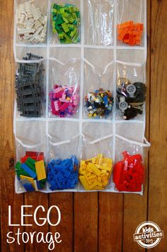 Lego Storage Idea - can use this idea for stuffed animals or other activities that have various pieces. Can also use this to practice sorting.