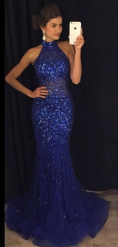 Blue Prom Dress High Neckline, Prom Dresses, Party Gown, Graduation Dresses, Formal Dress For Teens, pst1592
