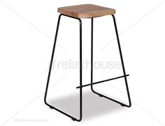 Tower Timber Bar Stool - Black Frame w Solid Natural American Ash Seat $219.00