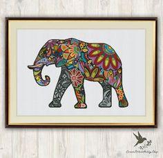 Elefante cruz puntada patrón, animal abstracto cruz puntada, puntada cruzada moderna, mosaico de punto de cruz patrón, bordados