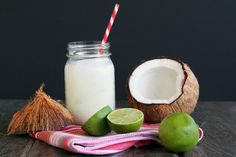 Coconut Lime Margarita  1 to 1 ½ ounces silver tequila  1 ounce simple syrup  1 ounce fresh squeezed lime juice  2 tablespoons cream of coconut milk* (found in cans with the cocktail mixers)