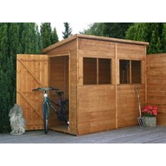 8 x 4 deluxe wooden pent shed unit - Garden Sheds 8 X 4