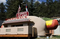 Now located in Bailey, Colorado this 42-foot, 14-ton hot dog was built in 1966 by Marcus Shannon and was originally located in Denver (on W. Colfax, near St. Anthony Hospital).