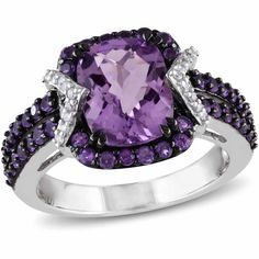 Tangelo 3-1/3 Carat T.G.W. Amethyst and Amethyst-Africa with 1/6 Carat T.W. Diamond Sterling Silver Halo Cocktail Ring, Purple