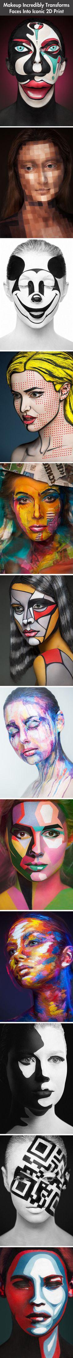 Makeup Transforms Faces Into Amazing 2D Prints – 12 Pics