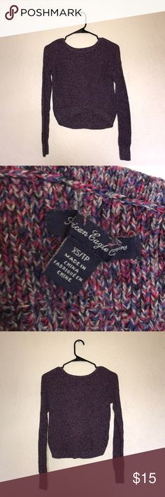 AMERICAN EAGLE Knitted Cropped Sweater AMERICAN EAGLE Cropped sweater Knitted Combo colors: red, blue, purple, and gray Very Soft Perfect for this seasons look Good Condition XS American Eagle Outfitters Sweaters Crew & Scoop Necks