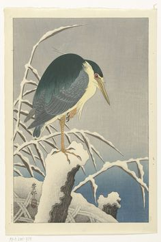 Heron In Snow after 1930 Ohara Koson (Shoson) , (Japanese, 1877 - Showa era Woodblock print; ink and color on paper H: W: cm Japan Japanese Artwork, Japanese Painting, Japanese Prints, Chinese Painting, Chinese Art, Japanese Bird, Ohara Koson, Pekinese, Art Chinois