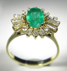 Yellow Gold 17 stone Emerald and Diamond Cluster Ring - Pawnbank Diamond Cluster Ring, Sale Items, Emerald, Engagement Rings, Jewellery, Watches, Stone, Yellow, Gold