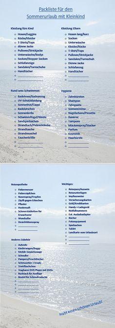 Unsere Packliste für den Sommerurlaub mit Kleinkind Urlaub, Ferien, Reisen, Travel, Runterladen, free download, Koffer packen, Familie, Family, Sommer, ultimative Packliste