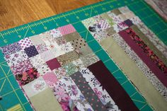 Postage stamp quilt how to. To think I almost cut each square out individually and then continued to sew them each individually! LIFE SAVER!