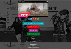 HAIM's website, which is really more of a landing page. The band links off to relevant content elsewhere on the web, including YouTube videos, an email signup form, links to purchase music, tour dates and more. A great example of using a simple, one-off landing page for your full website. #landingpage #musicmarketing