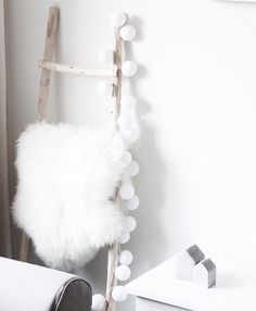 Love these amazing lights from We have a variety of colours coming and you can even design your own color scheme! by willa. Cotton Ball Lights, Hanging Tapestry, Hanging Ornaments, Black Decor, My Room, Boho Decor, Ladder Decor, Color Schemes, Scandinavian Lighting