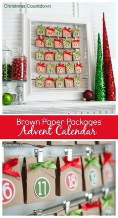 DIY Brown Paper Packages Christmas advent calendar craft idea. This is adorable! You can reuse the frame for other advents too.