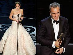 Jennifer Lawrence and Daniel Day-Lewis won the lead acting Oscars. (Photos: AP) #Oscars