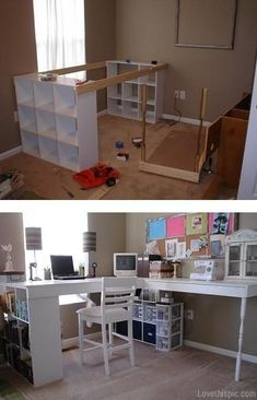 Cool diy desk room home decor white diy organization.  Move the inner cube (that's against the wall) to the other outer edge for better access to supplies.