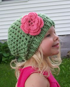 Girls Slight Slouch Hat PDF Crochet Pattern - 3 Sizes - 6-12 M - 1-3 Years - 4-8 Years Slouchy Beanie. $5.00, via Etsy.