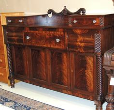 Federal Style Furniture | Exquisite Large Federal Style Mahogany Server sideboard buffet hutch ...