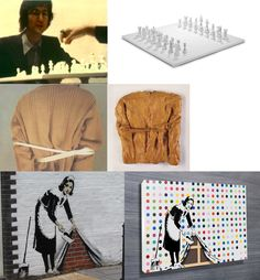 (top left) Performance with John Lennon in 1971 - Chess was played with a board of only white color (top right) A chess board representing this artwork produced in 1986 was sold for € 1,6 mio in 2012 as a sculpture (middlle left) Performance Bound to fail, 1966 (middle right) Henry Moore - Bound to fail, 1967 – 70, Sculpture sold for € 7,2 mio in 2001 (down left) Banksy street art found in London at Hoxton Square (down right) Banksy- Keep it spotless, 2007 Sold at Sotheby's in 2008 for 1,5…