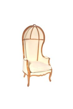 Shown in Cherry wood with a Leblon finish, the Bergère à Dome is a wonderful Louis XV armchair with curved legs en cabriolet.