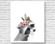 Original watercolor fox Woodland Nursery Art Animal by zuhalkanar