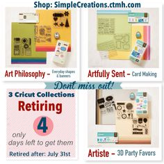 Don't miss out! Close to my Heart has 3 Cricut Cartridges retiring. These are absolutely my favorite, go to Cartridges. Each collection comes with 3 coordinating stamp sets and a paper pack. Not to mention the Cartridge is completely loaded. Let me know if you have any questions. I would be happy to help. Shop: SimpleCreations.ctmh.com