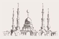 Big set of Ramadan Kareem sketches Engraving Illustration, Hand Illustration, Doodle Drawings, Pencil Drawings, Sketch Painting, Sketch Art, Outline Art, Travel Wall Art, Paper Architecture