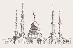 Big set of Ramadan Kareem sketches Landscape Drawings, Art Drawings, City Drawing, Paper Architecture, Sketch Tattoo Design, Islamic Art Pattern, Cartoon Girl Images, Travel Wall Art, Engraving Illustration