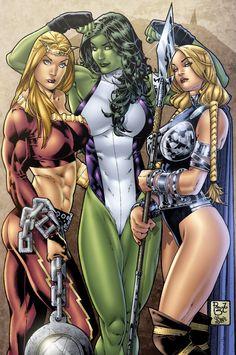 Thundra, She-Hulk, Valkyrie