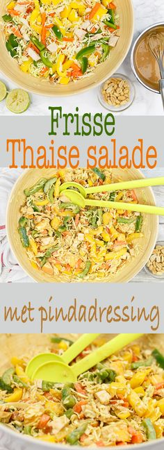 Thaise salade met pindadressing #recept #thais #salade #pinda 30 Minutes Or Less, Thai Recipes, Allrecipes, Yummy Food, Asian, Lunches, Yum Yum, Brunch, Fruit