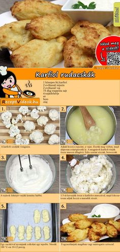 Cauliflower sticks recipe with video. Detailed steps on how to prepare this easy and simple Cauliflower sticks recipe! No Salt Recipes, No Dairy Recipes, Veggie Recipes, Cooking Recipes, Healthy Recipes, How To Cook Cauliflower, Cauliflower Cheese, Vegetarian Appetizers, Hungarian Recipes