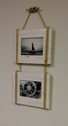 Shabby Chic Nautical Beach cottage DOUBLE 5X7 Rope Boat cleat Picture Frame in Distressed Whisper White