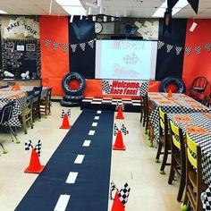 Race Car 🏎 classroom transformation resource will be up this weekend. I used it to teach force and motion and will include 3 activities… New Classroom, Classroom Setting, Classroom Themes, Race Car Themes, Race Cars, Race Car Room, Car Activities, Science Room, Kindergarten Themes