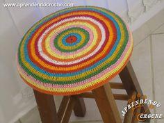 Capa de Crochê Banqueta Redonda - Receita de Croche Passo a Passo