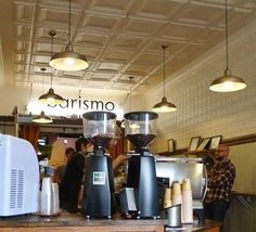 Warehouse Shades Lend Strong 1930s Taste to Coffee Shop